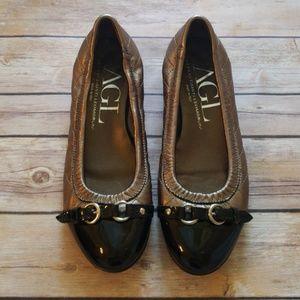 AGL Metallic Cap Toe Ballet Flats - Size 36.5